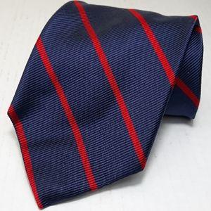 Land's End navy w/ red stripes hand sewn silk tie